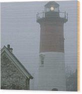 Nauset Lighthouse On A Foggy Morning Wood Print