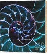 Nautilus Shell - Electric - V2 - Cyan Wood Print