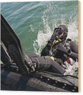 Navy Diver Dives Into San Diego Bay Wood Print