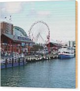 Navy Pier Chicago Summer Time Wood Print