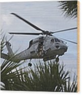 Navy Seals Look Out The Helicopter Door Wood Print