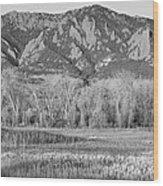 Ncar And Flatiron View Boulder Colorado Bw Wood Print