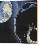 Near-earth Asteroid, Artwork Wood Print by Detlev Van Ravenswaay