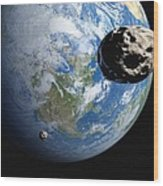 Near-earth Asteroids, Artwork Wood Print by Detlev Van Ravenswaay