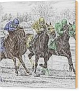 Neck And Neck - Horse Race Print Color Tinted Wood Print