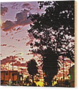 Neighborhood Silhouette  Wood Print