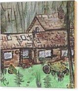 Neighbors Cabin Montana Wood Print