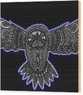 Neon Owl Wood Print