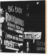 Neon Sign Bourbon Street Corner French Quarter New Orleans Black And White Conte Crayon Digital Art Wood Print