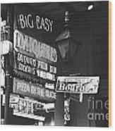 Neon Sign On Bourbon Street Corner French Quarter New Orleans Black And White Film Grain Digital Art Wood Print