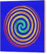 Neon Spiral Blue Wood Print