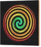 Neon Spiral Wood Print