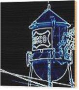 Neon Water Tower Wood Print