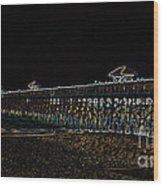 Neoned Pier Wood Print