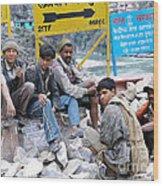 Nepali Labourers At Devraprayag Wood Print