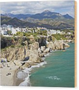 Nerja Town On Costa Del Sol In Spain Wood Print