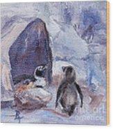 Nesting Penguins Wood Print