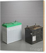 New & Old Automotive Battery Wood Print
