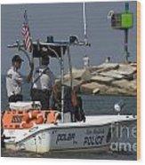New Buffalo Michigan Police Boat Patrolling Harbor Wood Print