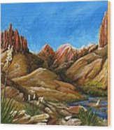 New Mexico Highlands In Spring Wood Print