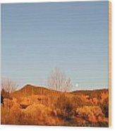 New Mexico Series - Moonrise Autumn Wood Print