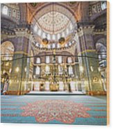 New Mosque Interior In Istanbul Wood Print