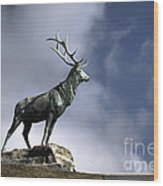 New Orleans Stag Statue Wood Print