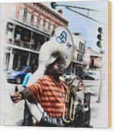 New Orleans Street Musician - Tuba Man Wood Print