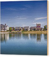New Town On The Lake Wood Print by Bill Tiepelman