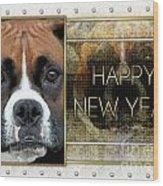 New Year - Golden Elegance Boxer Wood Print