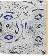 New Year Rolls Around With Abstracted Splatters In Blue Silver White Representing Snow Excitement Wood Print