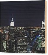New York At Night Wood Print by Alan Clifford