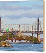 New York Bridge Water View Wood Print