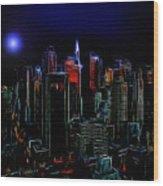 New York By Moonlight Wood Print