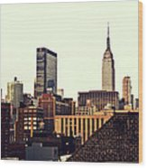 New York City Rooftops And The Empire State Building Wood Print