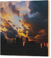 New York City Skyline At Sunset Under Clouds Wood Print