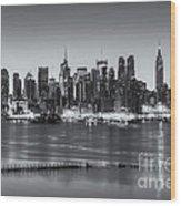 New York City Skyline Morning Twilight Iv Wood Print