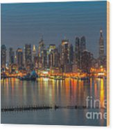New York City Skyline Morning Twilight Xi Wood Print