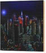 New York Midnight Wood Print