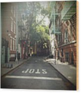 New York On Idealic Street Wood Print by Lori Andrews