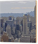 New York Skyline From The Rockefelller Wood Print
