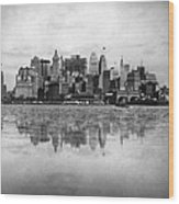 New York Skyline Reflected Wood Print