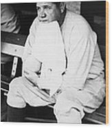 New York Yankees. Outfielder Babe Ruth Wood Print by Everett