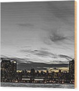 New Yorks Skyline At Night Colorkey Wood Print