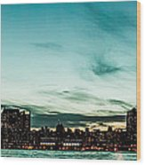 New Yorks Skyline At Night Ice 1 Wood Print