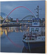 Newcastle Quayside At Night Wood Print