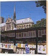 Newstand Next To Notre Dame Wood Print