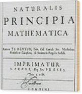 Newtons Principia, Title Page Wood Print