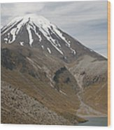 Ngauruhoe Cone And Upper Tama Lake Wood Print