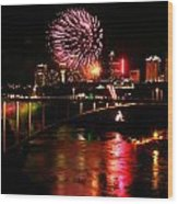 Niagara Falls Fireworks Wood Print by Mark J Seefeldt